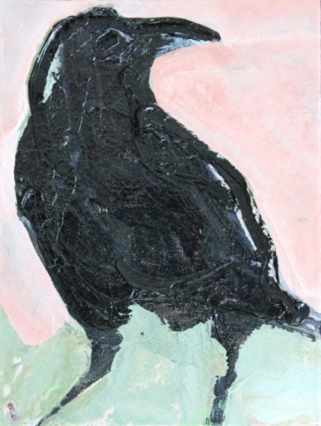 Crow-pink-and-green-2016-oil-on-board-20-x-15cm-Medium-600x796